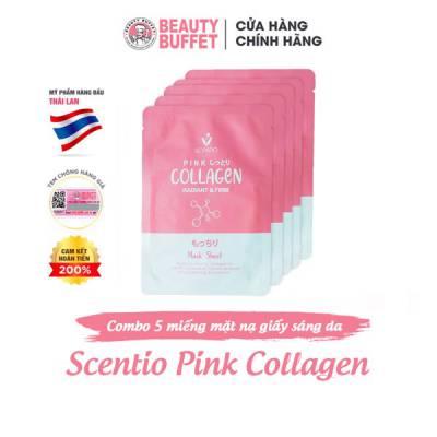 Combo 5 mặt nạ giấy dưỡng sáng và săn chắc da Scentio Pink Collagen