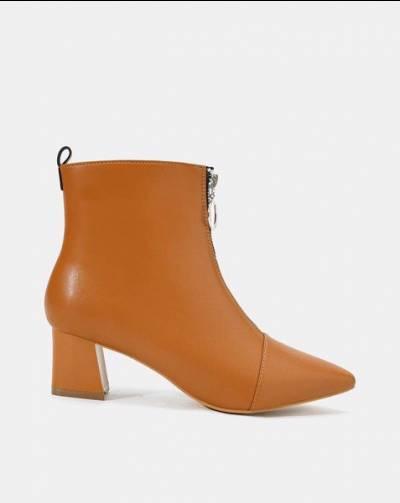 Giày boot dây kéo khoá tròn kim loại
