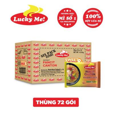Thùng 12 lốc 6 gói mì xào Pancit Canton hương vị cay ngọt Lucky Me 60g