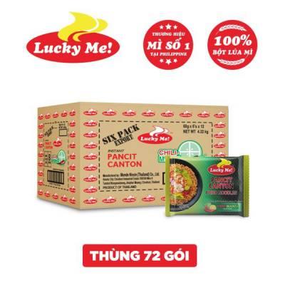 Thùng 12 lốc 6 gói mì xào Pancit Canton hương vị chua cay Chilimansi Lucky Me 60g