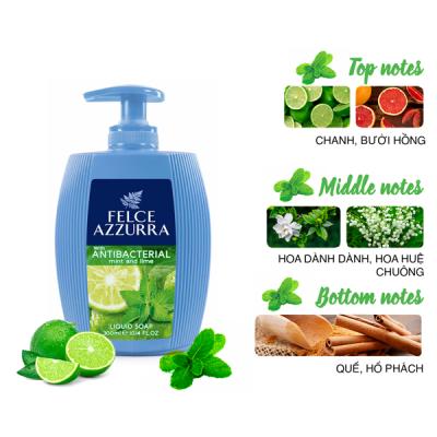 Sữa rửa tay hương nước hoa Ý Felce Azzurra 300ml kháng khuẩn với chanh bạc hà