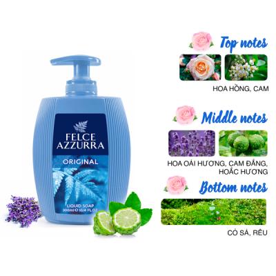 Sữa rửa tay hương nước hoa Ý Felce Azzurra 300ml thơm cỏ sả và hoắc hương