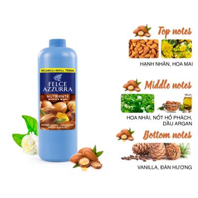 Sữa rửa tay hương nước hoa Ý Felce Azzurra 750ml dưỡng da tay với dầu argan