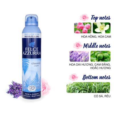 Xịt phòng hương nước hoa Ý Felce Azzurra 250ml thơm hoa oải hương, cỏ sả