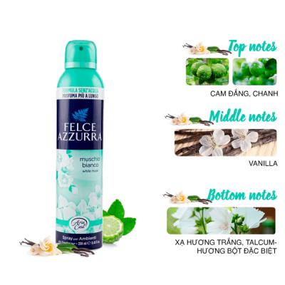 Xịt phòng hương nước hoa Ý Felce Azzurra 250ml thơm hoa xạ hương trắng, phấn talc