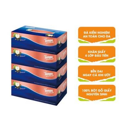 Lốc 4 khăn giấy hộp Tempo hương gỗ táo 90 miếng