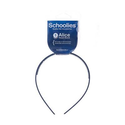 Cài tóc bản nhựa lớn Alice Schoolies xanh dương đậm