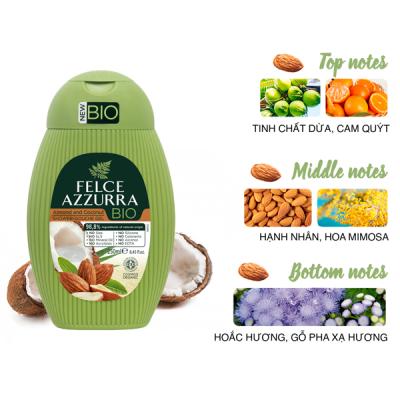 Sữa tắm hữu cơ Felce Azzurra Bio Ý chiết xuất hạnh nhân và dừa 250ml