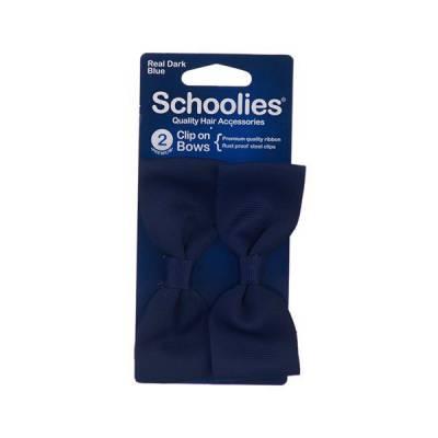 Bộ 2 kẹp tóc mỏ vịt kiểu nơ ruy băng lớn Schoolies xanh dương đậm