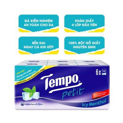 Khăn giấy bỏ túi Tempo Petit hương bạc hà 6 gói