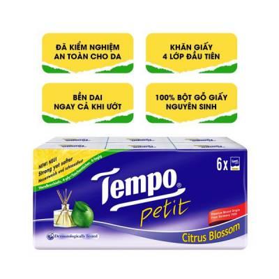 Khăn giấy bỏ túi Tempo Petit hương chanh sả 6 gói