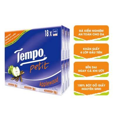 Khăn giấy bỏ túi Tempo Petit hương gỗ táo 18 gói