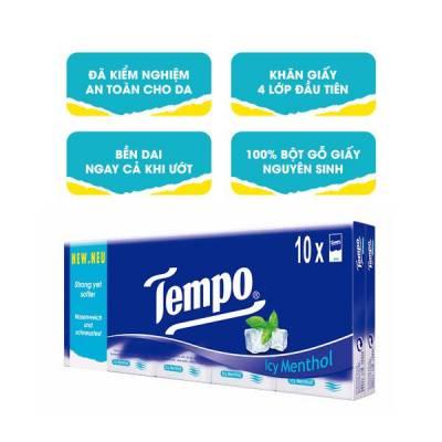 Khăn giấy bỏ túi Tempo Regular hương bạc hà 10 gói