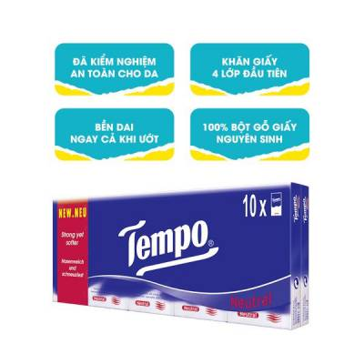 Khăn giấy bỏ túi Tempo Regular không mùi 10 gói