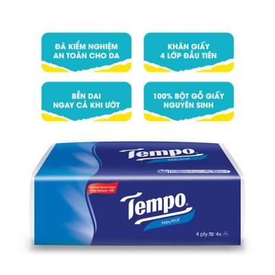 Khăn giấy gói rút Tempo Không mùi 4 gói