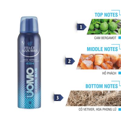 Xịt khử mùi 48h cho nam hương nước hoa cổ điển Ý Felce Azzurra Man Cool Blue 150ml