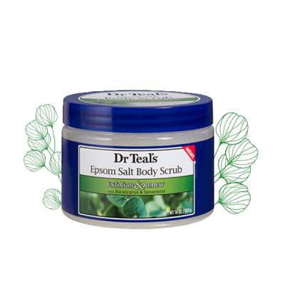 Dr Teals Muối epsom tẩy tế bào chết tinh dầu tràm bạc hà giúp dễ ngủ 454g