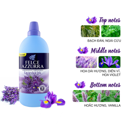 Nước xả vải đậm đặc hương nước hoa Ý Felce Azzurra 1,025L thơm oải hương, diên vĩ