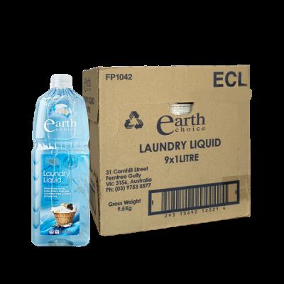 Thùng nước giặt gốc thực vật chiết xuất hoa cúc và dừa Earth Choice Úc 1L x 9