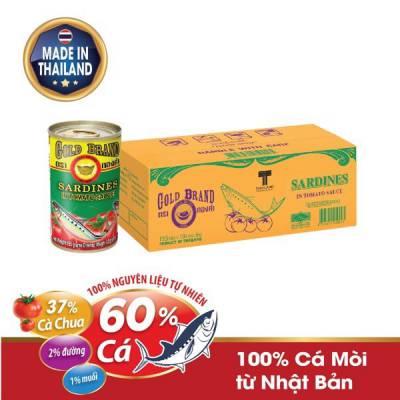 Thùng 100 hộp cá Mòi hộp sốt cà chua Goldbrand 155g