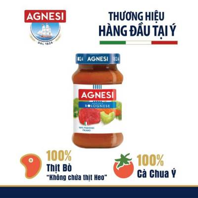 Sốt cà chua thịt bò bằm Bolognese Agnesi 400g