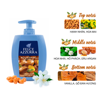 Sữa rửa tay hương nước hoa Ý Felce Azzurra 300ml dưỡng ẩm tinh chất dầu argan
