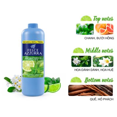 Sữa rửa tay hương nước hoa Ý Felce Azzurra 750ml kháng khuẩn từ chanh, bạc hà