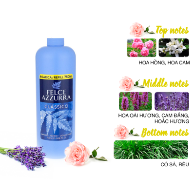 Sữa rửa tay hương nước hoa Ý Felce Azzurra 750ml thơm cỏ sả và hoắc hương