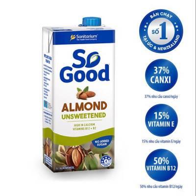 Sữa hạt hạnh nhân không đường So Good 1L