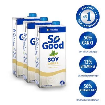 3 hộp sữa hạt đậu nành hương Vani So Good 1L