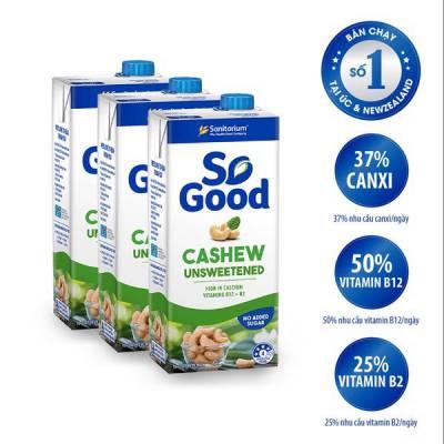 3 hộp sữa hạt điều không đường So Good 1L