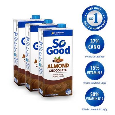 3 hộp sữa hạt hạnh nhân hương sô cô la So Good 1L