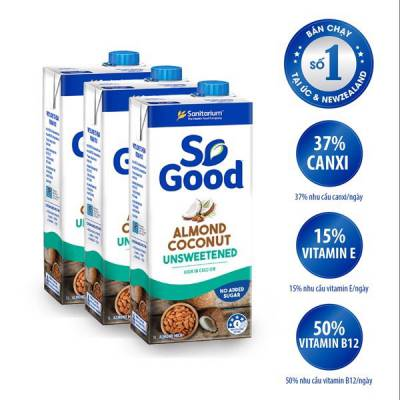 3 hộp sữa hạt hạnh nhân kem dừa không đường So Good 1L