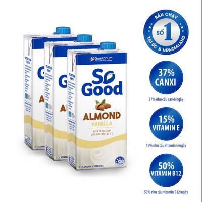 3 hộp sữa hạt hạnh nhân hương vani So Good 1L