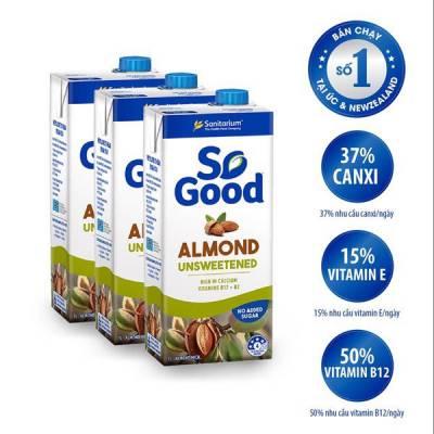 3 hộp sữa hạt hạnh nhân không đường So Good 1L