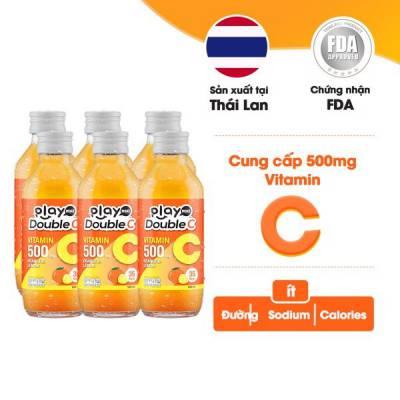 Lốc 6 chai nước giải khát vị cam và chanh vàng Playmore Double C 160ml