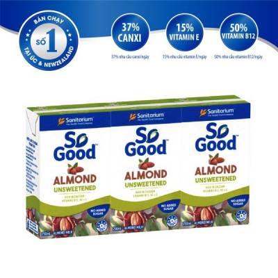 Sữa hạnh nhân không đường So Good 250ml x3