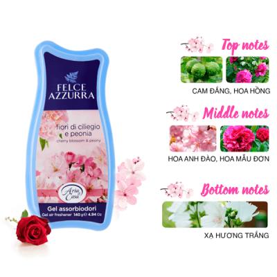 Sáp thơm phòng hương nước hoa Ý Felce Azzurra hộp 140g thơm hoa anh đào, mẫu đơn