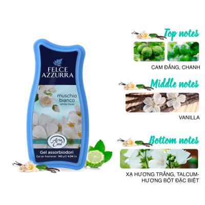Sáp thơm phòng hương nước hoa Ý Felce Azzurra hộp 140g thơm xạ hương trắng