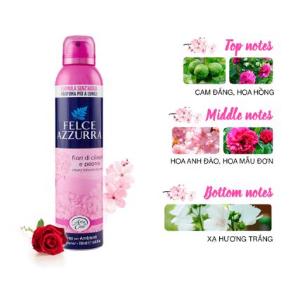 Xịt phòng hương nước hoa Ý Felce Azzurra hoa anh đào và mẫu đơn 250ml