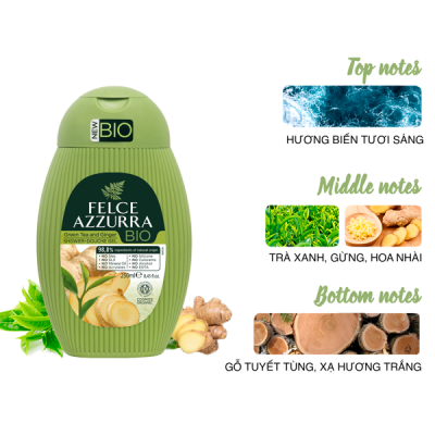 Sữa tắm hữu cơ Felce Azzurra Bio Ý chiết xuất trà xanh và gừng 250ml