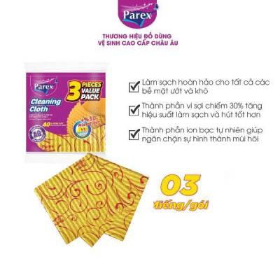 Gói 3 khăn lau cao cấp Parex 30% sợi microfiber dài 35cm x rộng 34cm