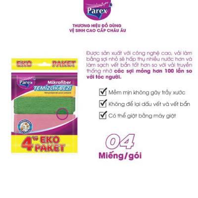 Gói 4 Khăn lau cao cấp Parex Microfiber dài 30cm x rộng 30cm