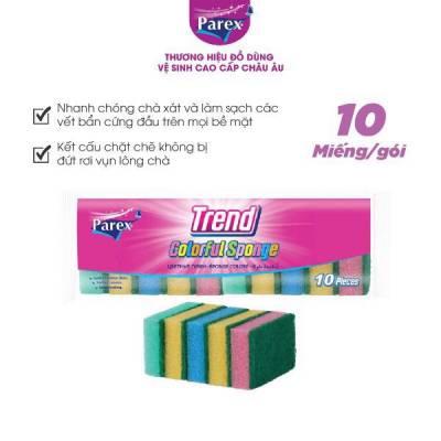 Gói 10 miếng rửa chén cao cấp Parex Trend 2 mặt bọt biển và cước xanh nhám