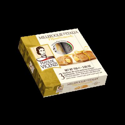 Bánh puff pastry cuộn kem Pastry Cream MILLEFOGLIE DITALIA MiniSnack 75g