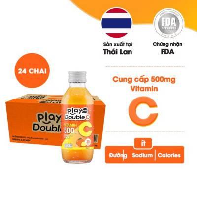 Thùng 24 chai nước giải khát vị cam và chanh vàng Playmore Double C 160ml
