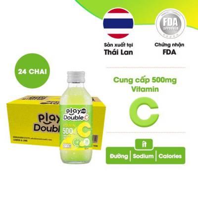 Thùng 24 chai nước giải khát vị chanh xanh và chanh vàng Playmore Double C 160ml