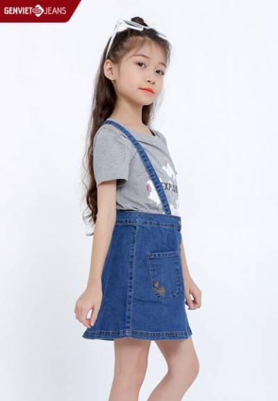 KY628J601 - Chân Váy Yếm Jeans Bé Gái