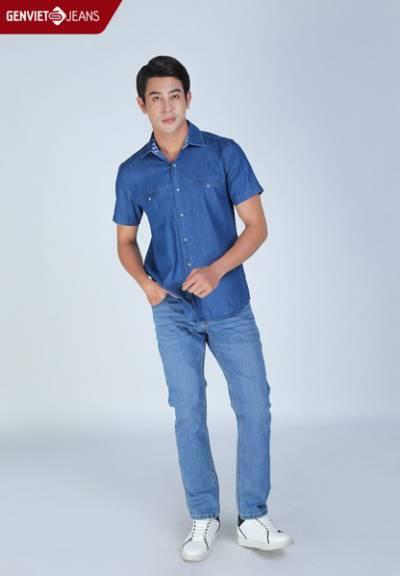 D3323J1728 - Áo Sơmi Jeans Cộc Tay Nam