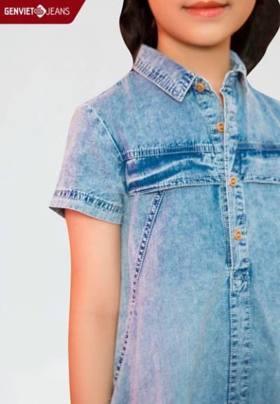ND328J1790 - Đầm Jeans Bé Gái Màu Loang